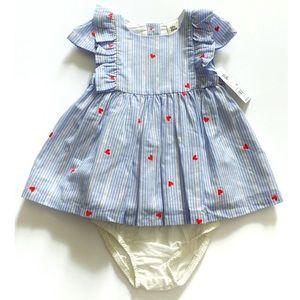 ❤️NWT OshKosh Heart Print Striped Dress 6 Months